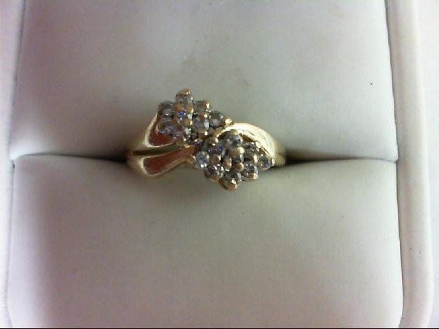 Lady's Diamond Cluster Ring 18 Diamonds 0.18 Carat T.W. 14K Yellow Gold 3g Size: