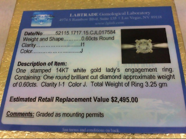 Lady's Diamond Engagement Ring .60 CT. 14K White Gold 3.25g