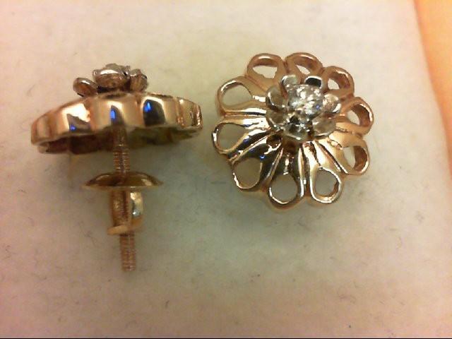 Gold-Diamond Earrings 2 Diamonds 0.1 Carat T.W. 14K Yellow Gold 2.5g
