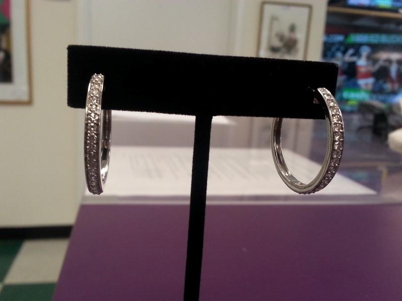 Gold-Diamond Earrings 38 Diamonds 1.90 Carat T.W. 14K White Gold 7.7g