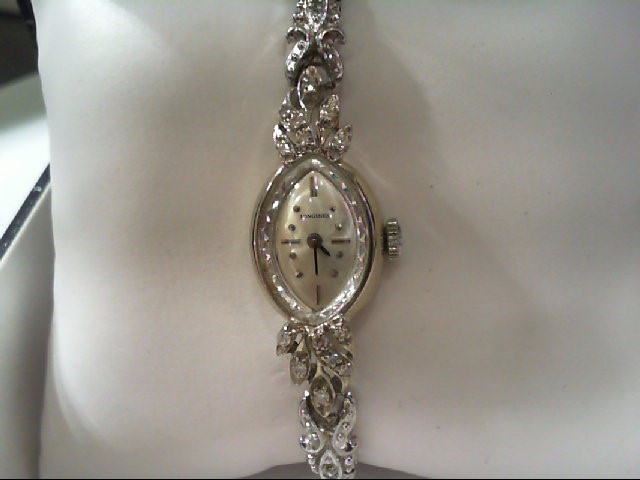 LONGINES Lady's Wristwatch 14K WHITE GOLD - 12 DIAMONDS - LADYS