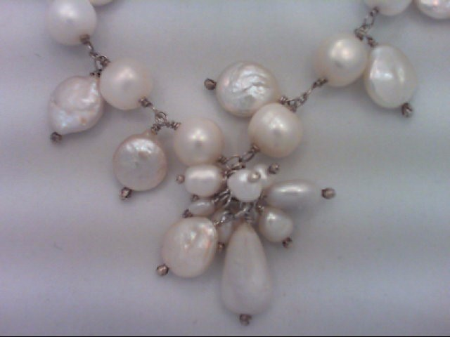 """16"""" Synthetic Pearl Strand Stone Necklace 925 Silver 38.6g"""