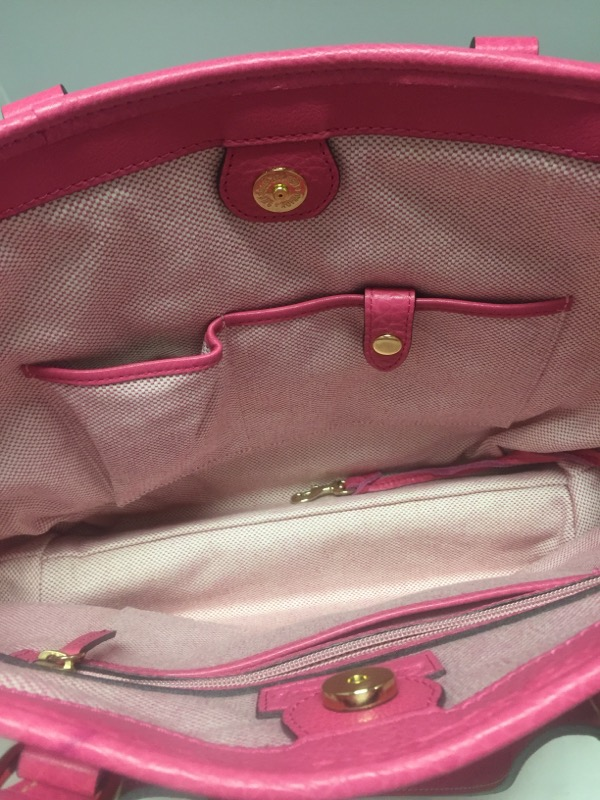 DOONEY & BOURKE HANDBAG # CB889, PINK LEATHER, MEASURING 17 x 12 x 5