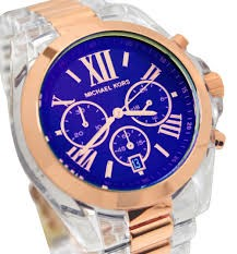 Michael Kors MK5950 Bradshaw Chronograph Blue Dial Rose Acetate Men's Watch