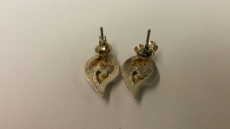 Landstrom's Black Hills Gold Silver Earrings 925 Silver 1.64dwt