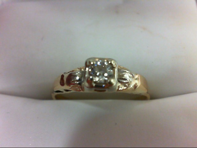 Lady's Diamond Engagement Ring 0.2 CT. 14K Yellow Gold 1.5g Size:5.5