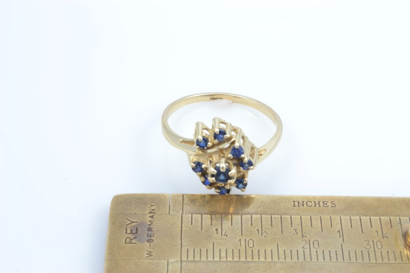 ESTATE SAPPHIRE BLUE RING CLUSTER SOLID 14K YELLOW GOLD SIZE 9.5