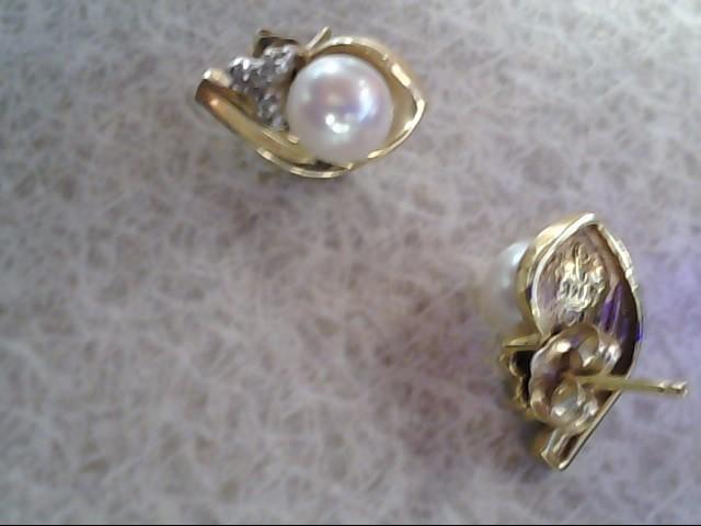 Peark Diamond Earrings 14K Yellow Gold 3.76g