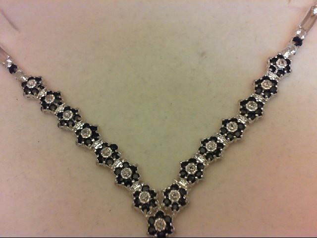 "20"" Synthetic White Stone Diamond & Stone Necklace 15 Diamonds 0.15 Carat T.W. 9"