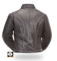 FM FIL159NOCZ - XL; LADIES STUDDED BLACK LEATHER RIDING JACKET WITH REMOVABLE LI