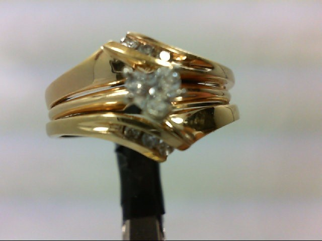Lady's Diamond Wedding Set 7 Diamonds 0.42 Carat T.W. 14K Yellow Gold 6.3g