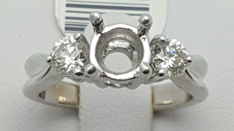 Lady's Diamond Engagement Ring 2 Diamonds .56 Carat T.W. 14K White Gold 4.8g