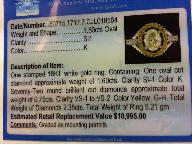 Ladys Oval Diamond Fashion Ring 73 Diamonds 2.48 Carat T.W. 18K White Gold 5.21g