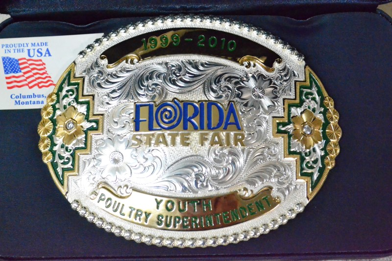 1999-2010 Florida State Fair Belt Buckle-232.9g Silver w/ 10k Gold.