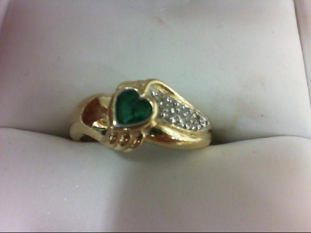 Emerald Lady's Stone & Diamond Ring 9 Diamonds 0.09 Carat T.W. 14K Yellow Gold 2