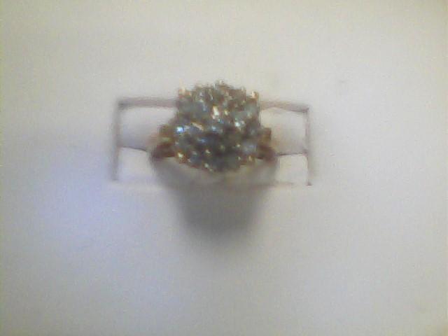 Lady's Diamond Cluster Ring 20 Diamonds 1.69 Carat T.W. 10K Yellow Gold 2.9dwt