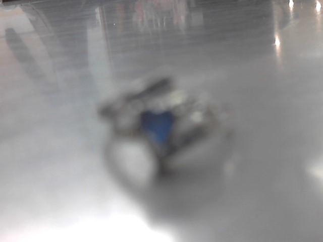 Blue Stone Lady's Stone Ring 10K White Gold 2g
