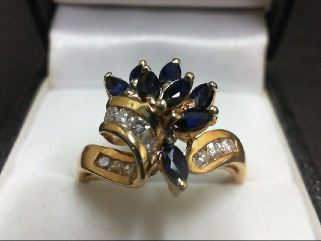 Sapphire Lady's Stone & Diamond Ring 10 Diamonds 0.4 Carat T.W. 14K Yellow Gold