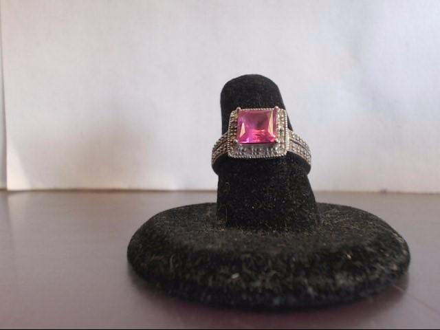 Pink Stone Lady's Stone Ring 10K White Gold 3.6g