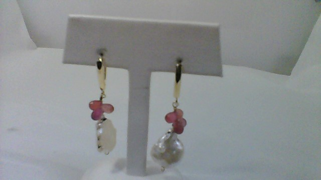 Synthetic Pearl Gold-Stone Earrings 14K Yellow Gold 4.4g