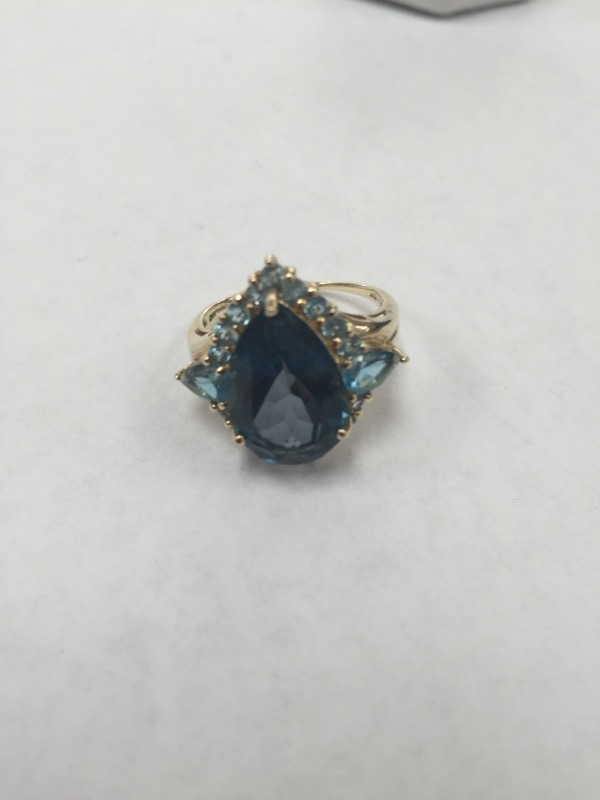 London Blue Topaz Lady's Stone Ring 10K Yellow Gold 4.7g Size:7.3
