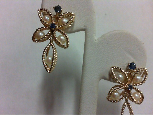 Sapphire Gold-Stone Earrings 14K Yellow Gold 5.7g