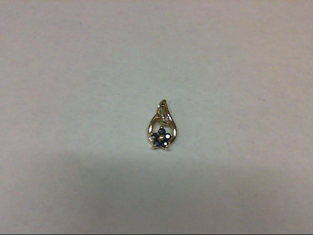 Sapphire Gold-Diamond & Stone Pendant 0.01 CT. 10K Yellow Gold 0.5g