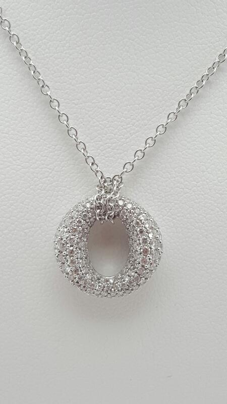 Diamond Necklace 106 Diamonds 1.06 Carat T.W. 14K White Gold 5.9g