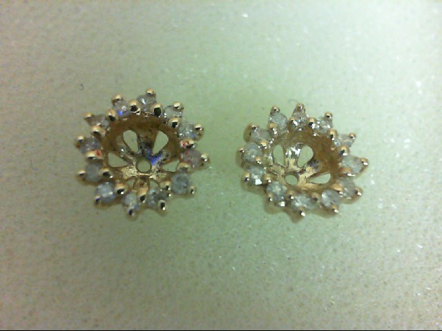 Gold-Diamond Earrings 24 Diamonds 0.24 Carat T.W. 14K Yellow Gold 2g