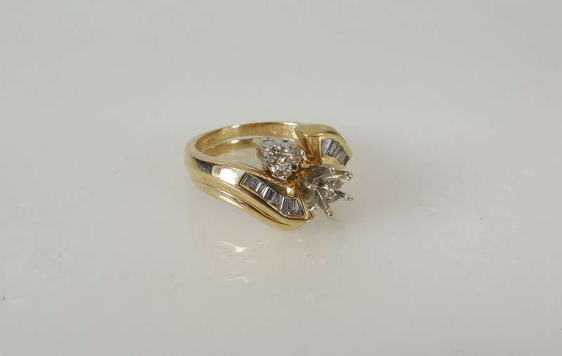 LADY'S 14K YG DIAMOND MOUNTING 3G SZ4.5