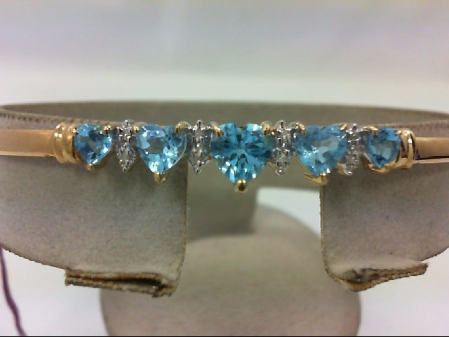 Blue Topaz Gold-Diamond & Stone Bracelet 4 Diamonds .04 Carat T.W.