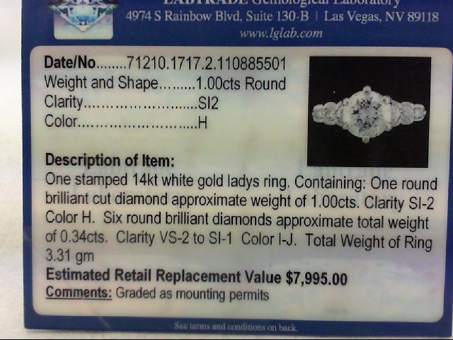 Lady's Diamond Engagement Ring 7 Diamonds 1.42 Carat T.W. 14K White Gold 3.31g