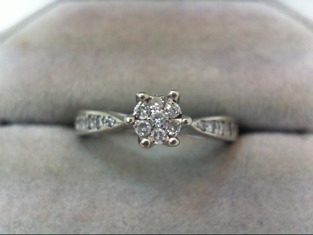 Lady's Diamond Engagement Ring 15 Diamonds .29 Carat T.W. 14K White Gold 2.6g