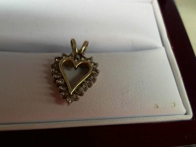 Gold-Multi-Diamond Pendant 20 Diamonds .40 Carat T.W. 10K Yellow Gold 1.3g