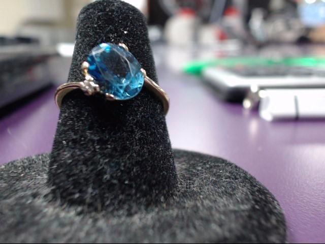 Blue Topaz Lady's Stone Ring 18K Yellow Gold 2.3g