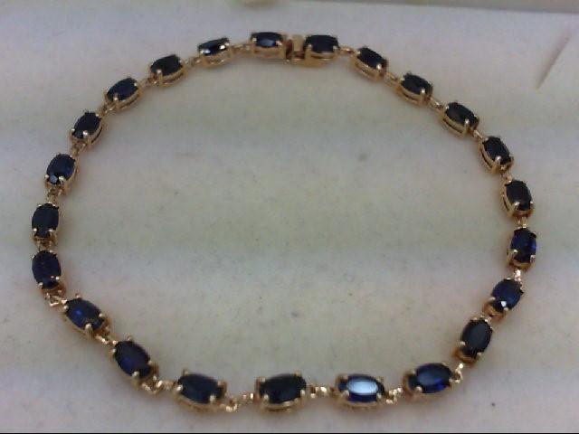 Sapphire Gold-Stone Bracelet 10K Yellow Gold 5.3g