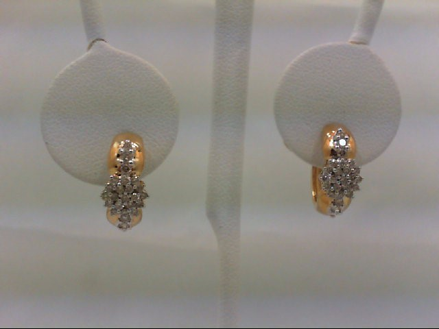 Gold-Diamond Earrings 50 Diamonds 0.5 Carat T.W. 14K 2 Tone Gold 5g