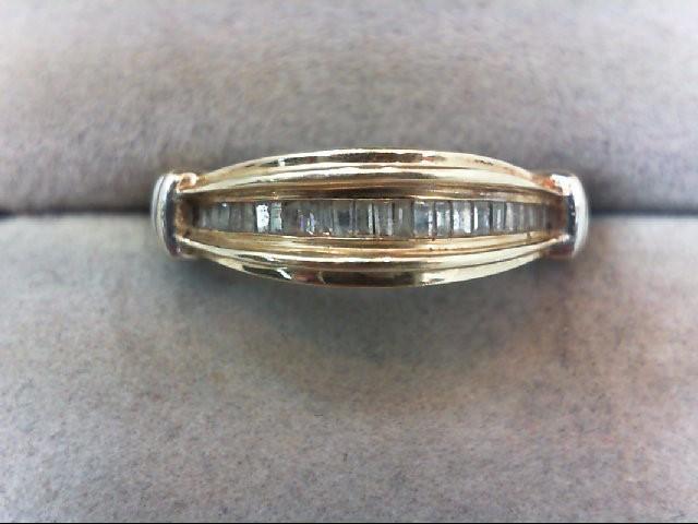 Lady's Diamond Wedding Band 22 Diamonds .22 Carat T.W. 10K 2 Tone Gold 2.5g