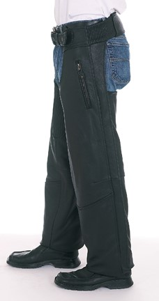 USED C3000-A L; NAKED LEATHER CHAPS WITH SNAP OUT LINING WORN BROKEN ZIPPER