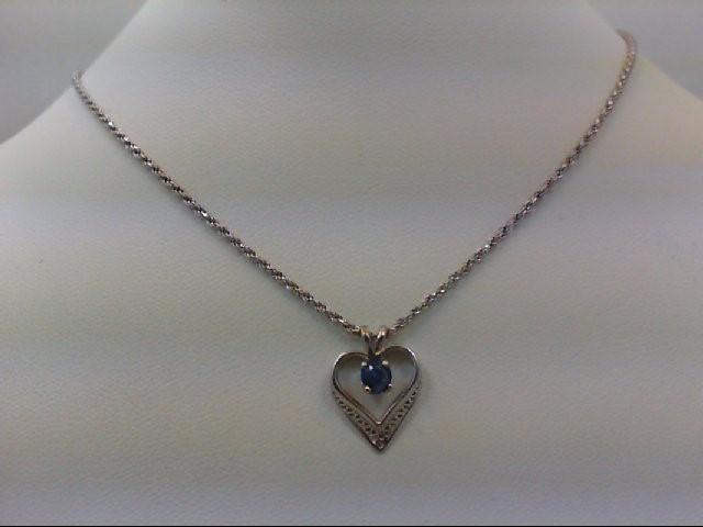 Sapphire Gold-Stone Pendant 14K White Gold 5.1g