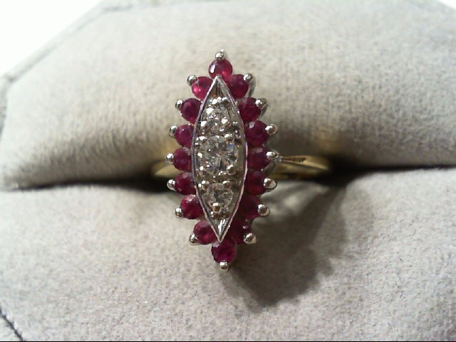 Ruby Lady's Stone & Diamond Ring 3 Diamonds .20 Carat T.W. 14K Yellow Gold 3.4g