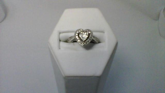 Lady's Silver-Diamond Ring 4 Diamonds .04 Carat T.W. 925 Silver 3.5g