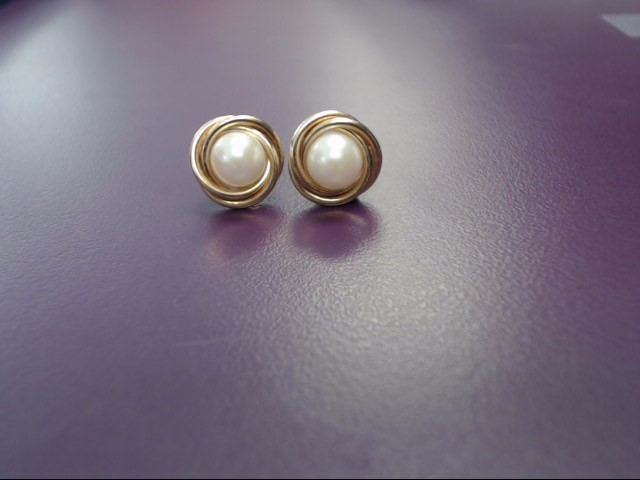 Pearl Gold-Stone Earrings 14K Yellow Gold 2.2g