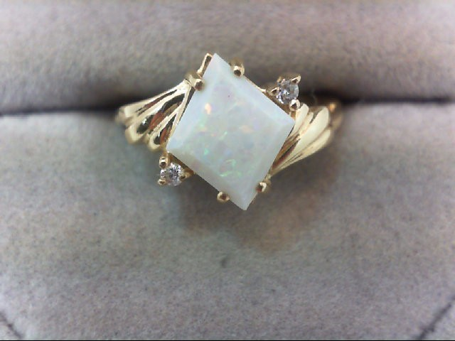 Opal Lady's Stone & Diamond Ring 2 Diamonds .04 Carat T.W. 14K Yellow Gold 2.8g
