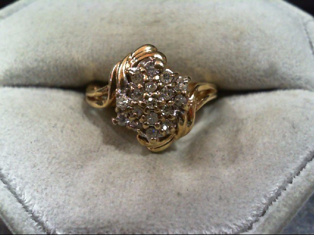 Lady's Diamond Cluster Ring 17 Diamonds .34 Carat T.W. 14K Yellow Gold 4.7g