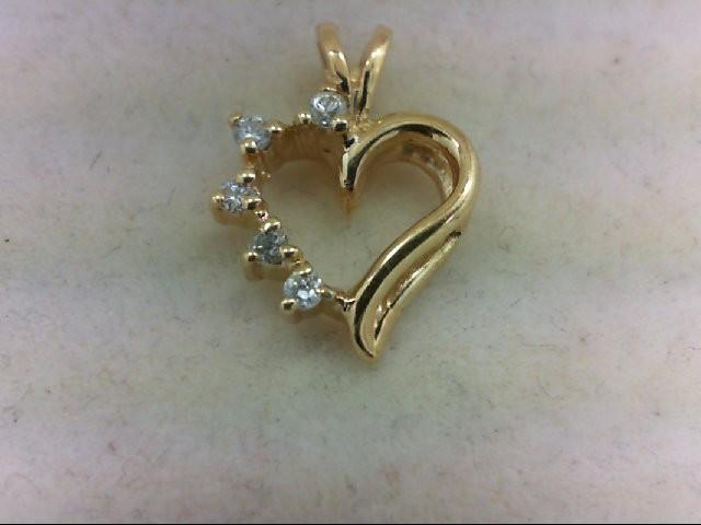 Gold-Multi-Diamond Pendant 5 Diamonds 0.1 Carat T.W. 14K Yellow Gold 1.2g