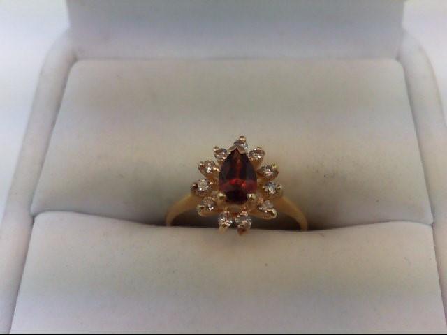 Almandite Garnet Lady's Stone & Diamond Ring 11 Diamonds 0.11 Carat T.W. 14K Yel