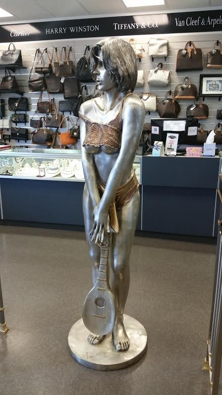 LIFE SIZED BRONZE STATUE OF LADY HOLDING MANDOLIN SOLID BRONZE CUSTOM MADE 1 OF