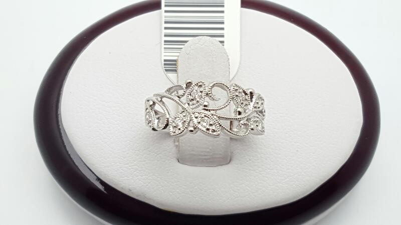 Lady's Diamond Filegree Ring 7 Diamonds .07 Carat T.W. 14K White Gold 2.7g