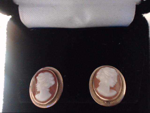 Synthetic Cameo Gold-Stone Earrings 14K Yellow Gold 1.55g